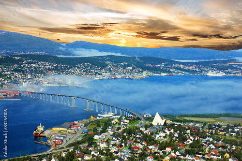 Garden Poster Northern Europe Tromso, Norway sunset view, mountains in Norwegian fjords
