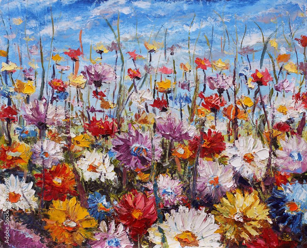 malowanie kwiatów, piękne kwiaty polne na płótnie