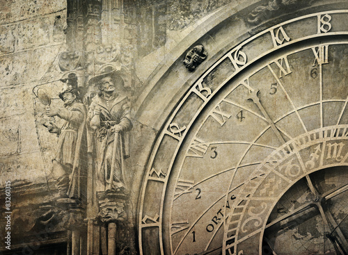 Poster Retro Detail of the Prague Astronomical Clock , vintage image