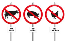 Vegetarian Meatless Prohibition Sign