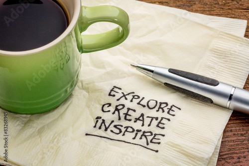 explore, create, inspire on napkin Canvas Print