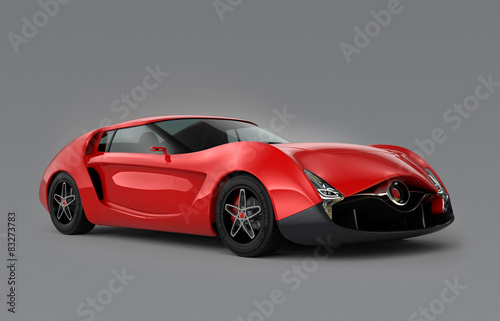 Foto op Canvas Cars Red sports car on gray background.Original design
