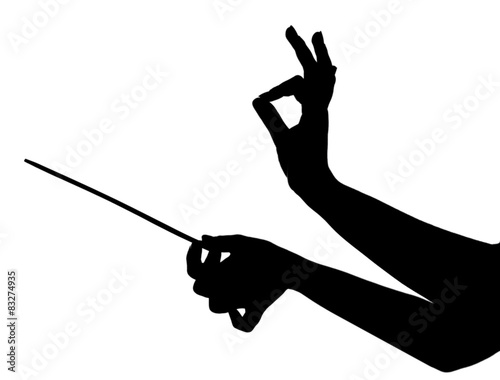 Music conductor hands with stick isolated on white Canvas Print