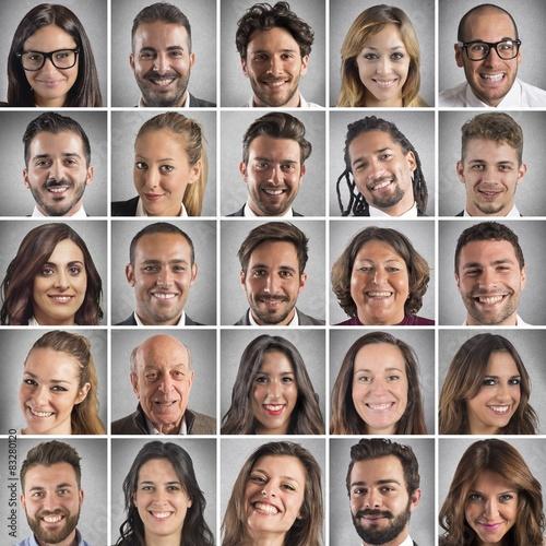 Fotografie, Obraz  Smiling faces collage