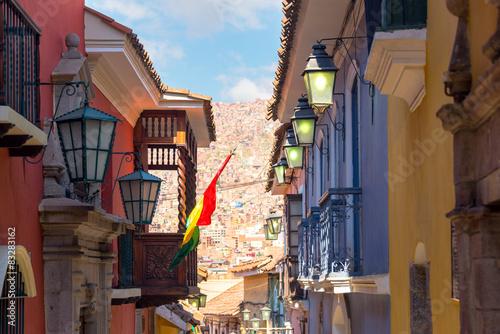 fototapeta na szkło Jaen Ulica w La Paz, Boliwia