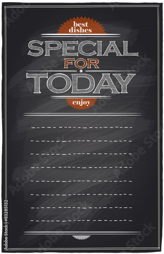 Fotografía  Special for today chalkboard menu with place for text.