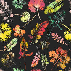 Plakat crazy beautiful watercolor pattern of leaves.