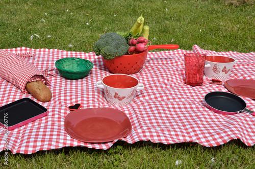 Keuken foto achterwand Picknick Lunch set on a lawn