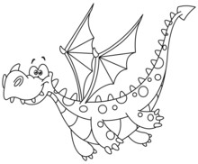 Outlined Flying Dragon