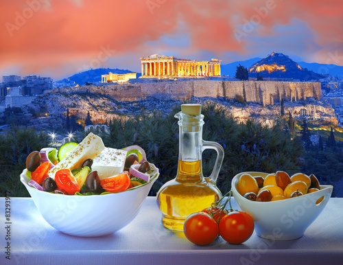 Acropolis with Greek salad in Athens, Greece