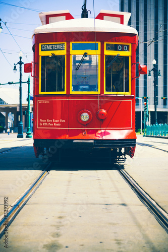 Photo  Red Street Car in New Orleans
