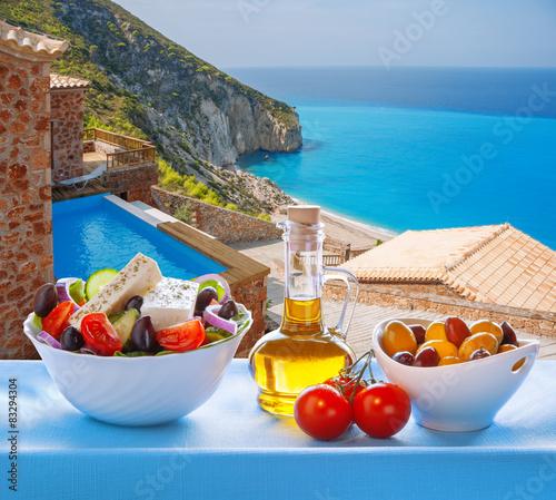 Lefkada island with Greek salad in Greece