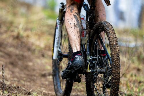 Foto op Plexiglas Fietsen Wheel dirt bike after the race