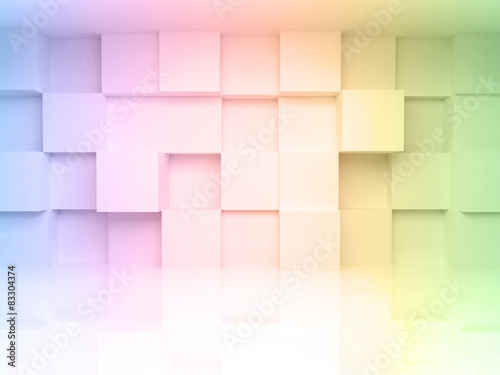3d architecture background with colorful gradient © evannovostro