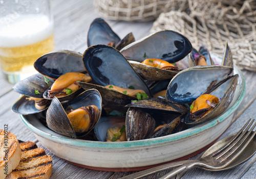 Deurstickers Schaaldieren Steamed Mussels