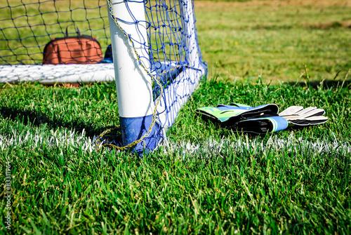Fotografia, Obraz  Goalpost with goalkeeper gloves: waiting for the match to start