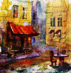 Fototapeta Paryż French outdoor european cafe painting, graphic drawing in color