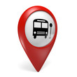 3D red map pointer icon with a bus symbol for public transport