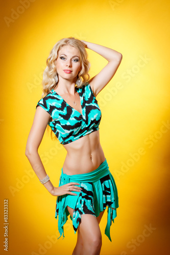 Fototapeta Fashiom woman summer dress, girl pin up costume obraz na płótnie