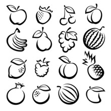 Collection Of Fruits Set. Vector Illustration