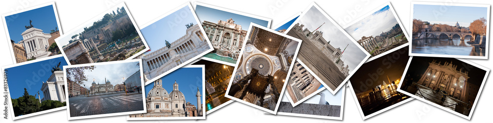 Fototapety, obrazy: Postcard collage from Rome, Italy.