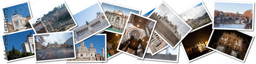 Obraz Postcard collage from Rome, Italy.  - fototapety do salonu