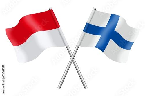 Fotografie, Obraz  Flags: Monaco, Indonesia and Finland