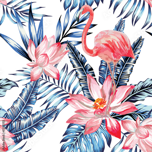 Cotton fabric pink flamingo and blue palm leaves pattern