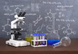 Chemistry laboratory concept. Laboratory chemical test tubes and