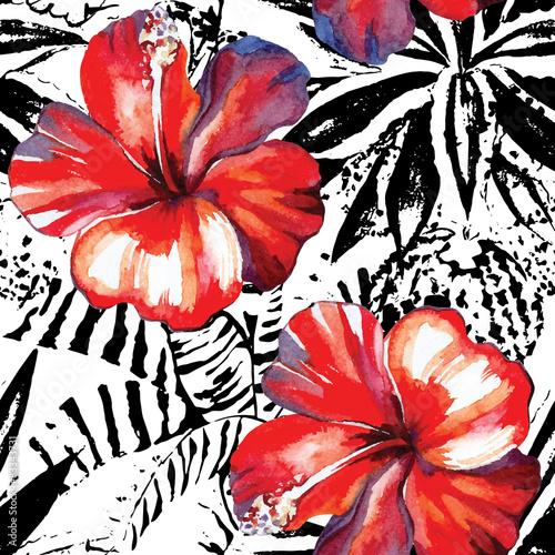 hibiskus-rosliny-akwarela-i-grafika-bezszwowe-tlo