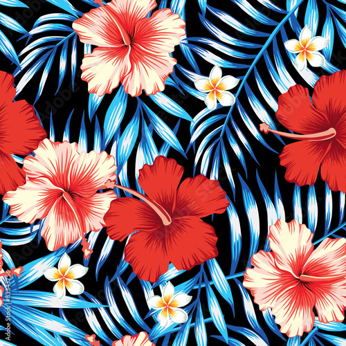 Cotton fabric hibiscus and palm leaves seamless background