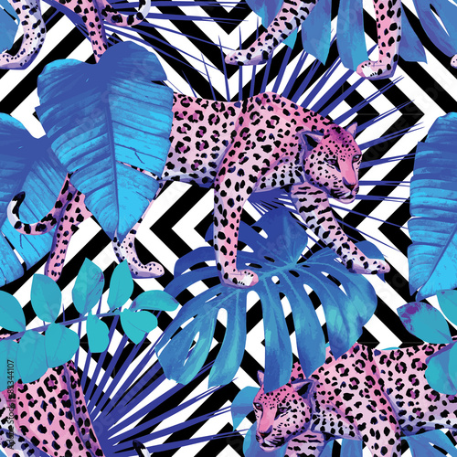 Foto Rollo Basic - leopard and tropical plants, geometric background (von berry2046)