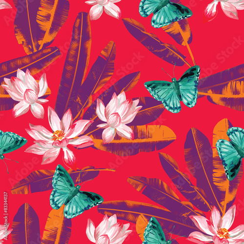 Cotton fabric lotus, butterflies and banana leaves seamless background