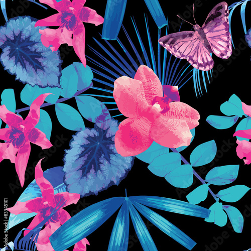 Cotton fabric orchids, butterflies and palm leaves pattern