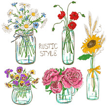 Set Of Mason Jars With Flowers