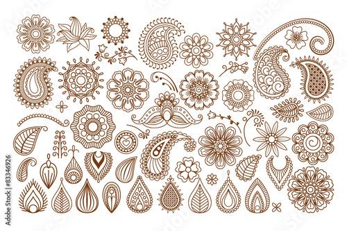 Photo Henna tattoo doodle elements