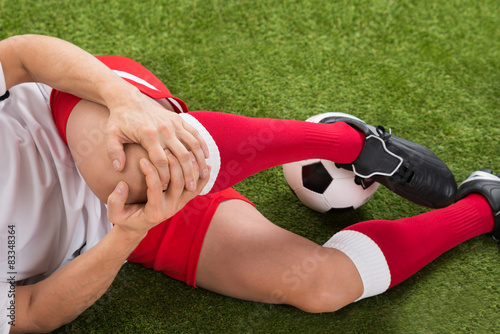 Soccer Player Suffering From Knee Injury
