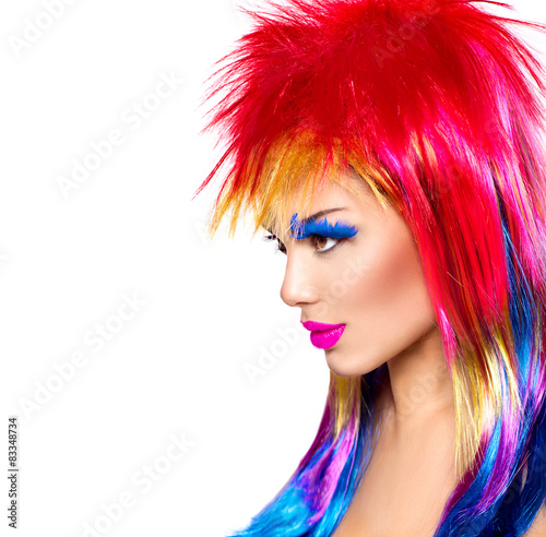 Foto op Plexiglas Beauty Beauty fashion punk model girl with colorful dyed hair