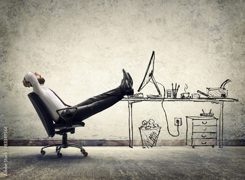 Deurstickers Ontspanning relax in office - man sitting on the drawing of desk