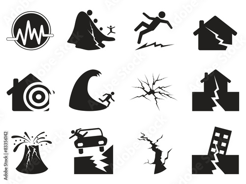 Valokuvatapetti black earthquake icons set