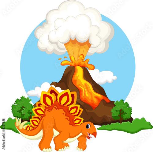 Canvas Prints Dinosaurs Cute stegosaurus cartoon dinosaur with volcano background