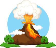 Illustration Of A Volcano Erup...