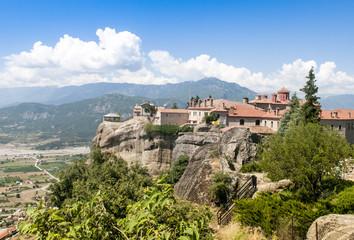 Fototapeta na wymiar Monastery on top of rock in Meteora, Greece