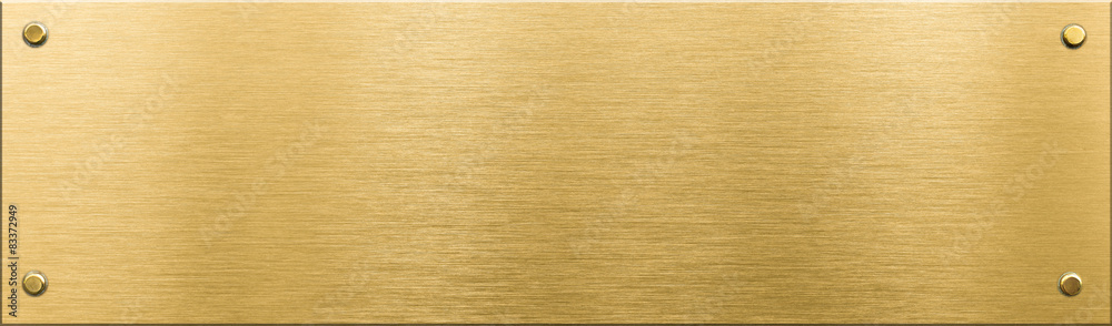 Fototapeta gold metal plaque or nameboard with rivets