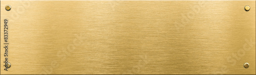 Fototapeta gold metal plaque or nameboard with rivets  obraz