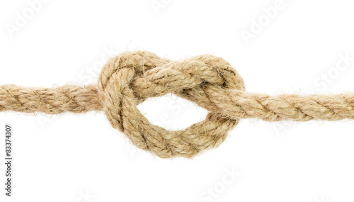 Fotografía  rope knot isolated on the white background