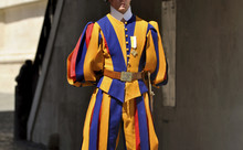 A Member Of The Pontifical Swiss Guard In Vatican