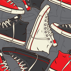 Tapeta Seamless pattern with sneakers Vector background.