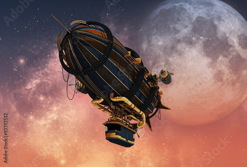 Steampunk Airship, 3d CG Wallpaper Mural