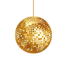 Sparkling Gold Disco Ball Isol...